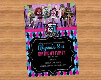 Monster High, Invitation, Printed OR Digital File, 5x7
