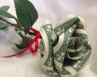 Handcrafted Single Money Origami Rose