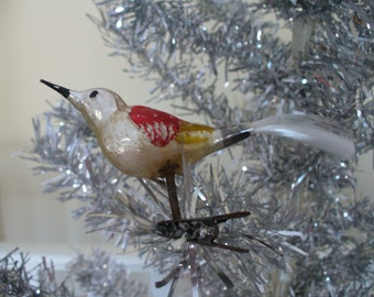 Vintage, Hand Blown, Hand Painted, Bird, Christmas Decoration/Ornament ***
