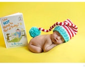 Newborn elf hat - photography prop - Dr Seuss - crochet baby hat - cat in the hat - twins - twin set