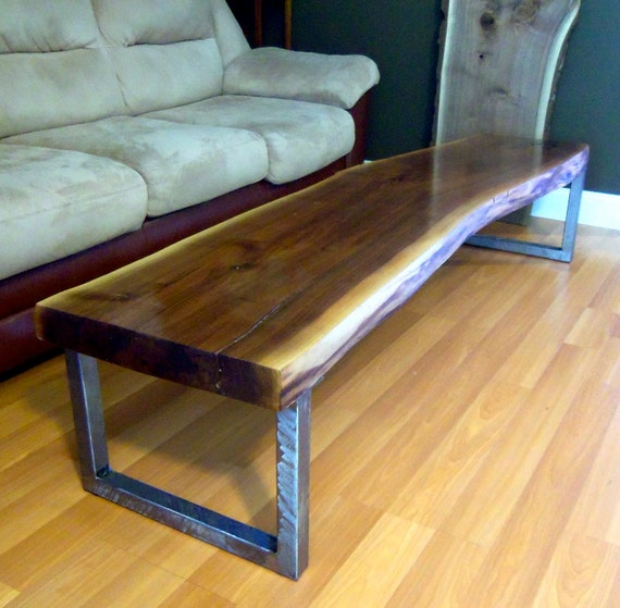 Live Edge Square Coffee Table: Live Edge Black Walnut Slab Coffee Table