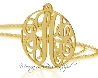 Gold Circle Monogram necklace - All sizes Personalized Monogram - 18k Gold Plated over Sterling Silver