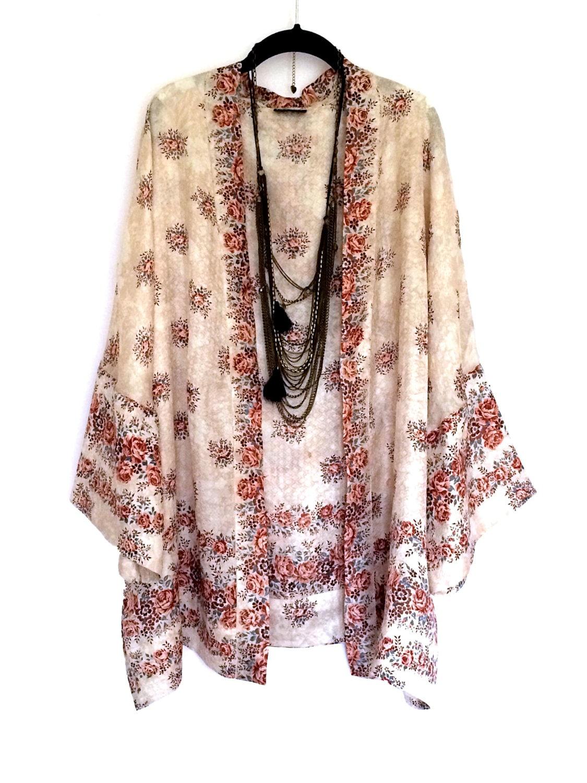 silk kimono jacket cover up bed jacket cream and beige. Black Bedroom Furniture Sets. Home Design Ideas