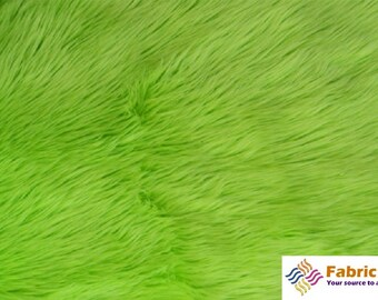 Lime Green Pile Luxury Shag Faux Fur Fabric by the yard for costumes, coats, vests, home and studio use 4460