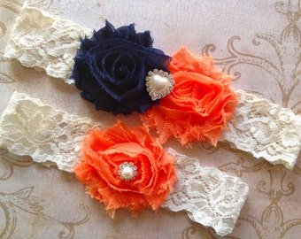 Wedding Garter, Bridal Garter - Blue and Orange Garter, Navy Wedding Garter, Lace Garter, Navy Bridal Garter, Blue Orange Garter