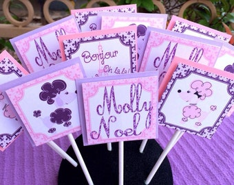 Poodles and Paris Birthday Decorations Pack Pink and Purple - FULLY ASSEMBLED