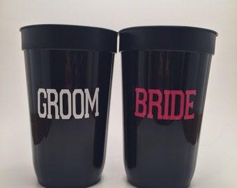 Bride Groom Cups, Mr Mrs Bridal Party Wedding Cups, Wedding Cups, Engagement Gift, Bridal Shower Gift