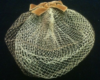 Vintage Women's Taupe Net Hat with Velvet Bow
