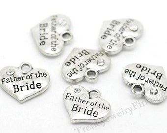 4 Father of the Bride Charms - Silver Wedding Charms with sparkling rhinestone -MC0193