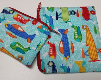 Reusable Sandwich Bag Set,Planes & Helicopters Lunch Baggies,Gadget Bags, Toy Bags, Snack Bags, Washable, Nylon Lining, Zipper Closure.