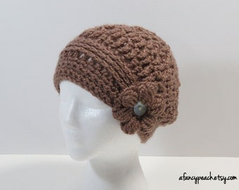 Women's Crochet Cloche with Braided Band & Flower Accent, Ready to Ship