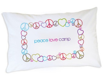 Girls Camp Pillow Case, Peace Love & Camp Pillow, Kids Personalized Pillowcase