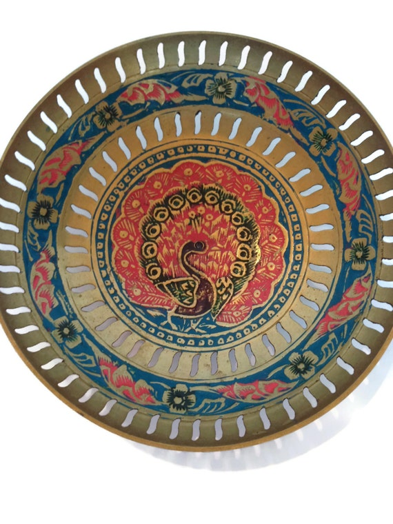 Vintage brass peacock bowl metal and enamel round dish