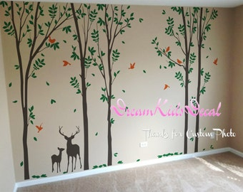 trees decals:wall decals, nature wall decals, vinyl wall decal, nature wall decal stickers, birch tree, nursery wall stickers-DK139