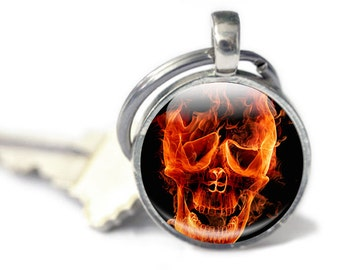 Skull Keyring, Firy Hand Keyring Flame Photo Keyring, Keychain - burning skull key charm   Orange Black, flame keyring, fire keychain,