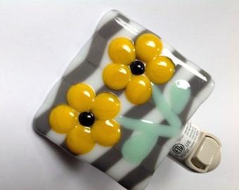 Fused Glass, Gray and White, Chevron, Night Light, Yellow Flowers, Nursery
