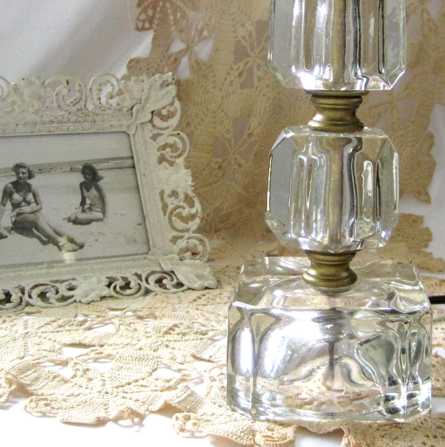 Bedside Lamp Vintage Bedroom 1940s Cube Clear Glass Lamp