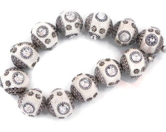 Indonesia Beads, 6 pieces of Handmade red Clay with Silver Embellishments, 20 mm Indonesian clay beads