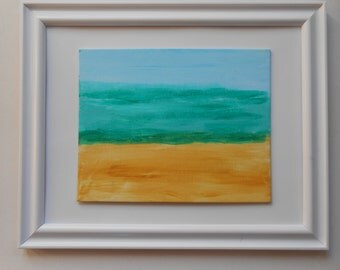 Painting Beach Ocean Sky Fine Art - Blending of Different Shades of Blue, Aqua, Sand. 8x10 inches.Acrylic on Archival Quality Canvas Panel.