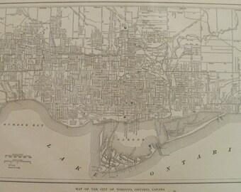 Toronto Map,Toronto Ontario Map,Toronto Canada Map,Vintage City Map,Places on the World Map,Atlas Wall Art City Map,1918 8x14 VS19