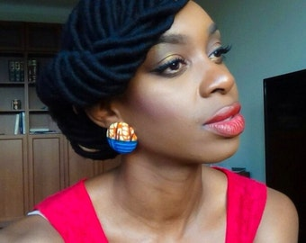 Orange and Blue Ankara/Large and Extralarge Button Earrings