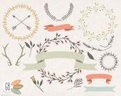 Wreaths, laurels, ribbons, clip art, vector, folk