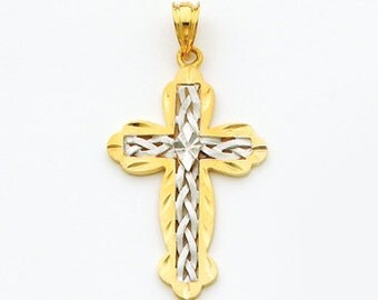 14k gold two tone cross.