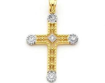 14k gold two tone cross pendant.