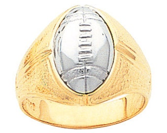 14k gold two tone men's football ring