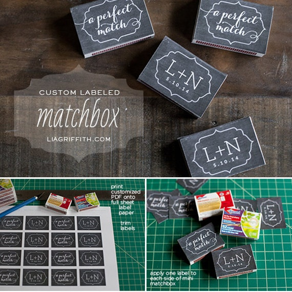Printable Matchbox Labels For Wedding Favors By Liagriffith