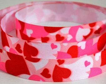 "7/8"" Valentine Heart Print Grosgrain Ribbon"