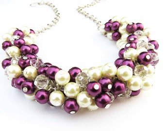 5 Sets of Plum Pearl Necklace Set, Pearl Cluster Necklace, Bridesmaid Necklace, Bridal Jewelry, Pearl Necklace, Chunky Necklace, Plum Pearls