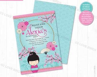 Kokeshi Doll Printable Invitation, Birthday Invitation, Kids Invitation, Japanese Invitation, Baby Shower Invitation, Girl Invitation