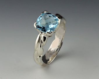 Sterling Silver Checkerboard Swiss Blue Topaz Ring with Woven Band