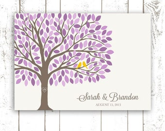 Guest Book Tree - Guest Book Alternative for 175 Guest Signatures - Purple Wedding Guestbook