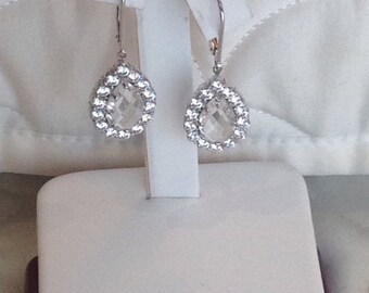Quartz and Swarovski Crystal Earrings