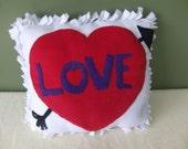 Valentine's Day fleece tied pillow, heart fleece pillow, love fleece pillow - CraftyMomofTwins