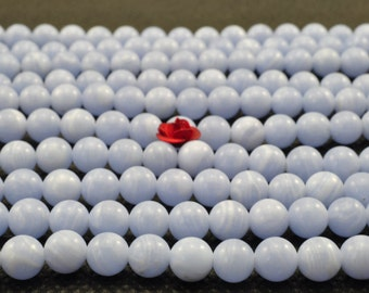 64 pcs of  Blue lace agate smooth round beads in 6mm