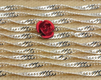 8 feet of Silver plated Cable Chain in 2mm wide X 2mm  diameter