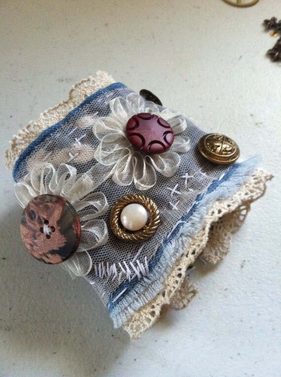 Denim And Lace Shabby Vintage Button Cuff Bracelet