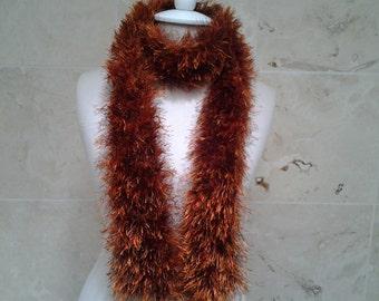 Hand Knit Fun Fur Scarf Chocolate Terracotta