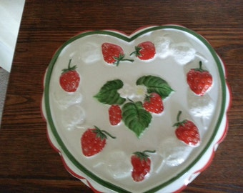SALE/Hand painted Ceramic Jello Mold by Strafford/ Country kitchen/Wall hanging