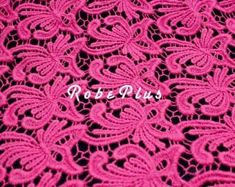 Fuschia Lace Fabric- Hot pink lace fabric- Fuchsia lace fabric- Floral pink lace- Floral Embroidered Lace-Floral Embroidered pink Lace-L82