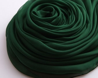Dark green Silk Chiffon Scarf - Green Silk Chiffon Scarf - 2014-8