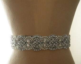 SALE / Wedding Belt, Bridal Belt, Bridesmaid Belt, Sash Belt, Wedding Sash, Bridal Sash, Belt, Crystal Rhinestone & Pearl, 18 Inches