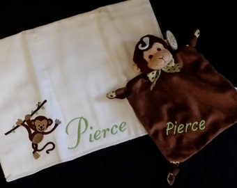 Personalized Snuggler and Coordinating Burp Cloth