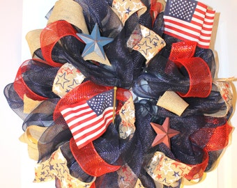 Patriotic Wreath-  4th of July Wreath- Americana - Deco Mesh &  Burlap Wreath- Flags - Old Glory - Red, White, Blue, Natural