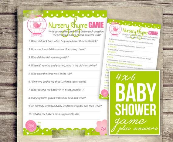 nursery rhyme baby shower game girl baby shower pink green girl
