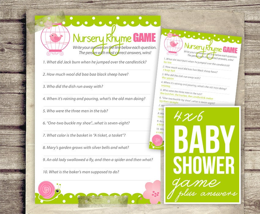 nursery rhyme baby shower game girl baby shower pink green