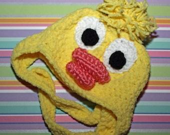 Crochet Baby Duck/Chick Hat w/ Earflaps~ Newborn Photo Shoot